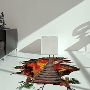 3D Wall or Floor Stickers - Ladder over Volcano