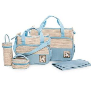 5 in 1 Multifunctional Baby Bag - Blue Dots