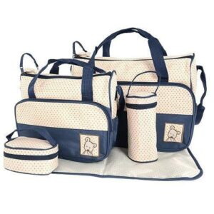 5 in 1 Multifunctional Baby Bag - Navy Dots