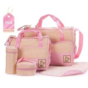 5 in 1 Multifunctional Baby Bag - Pink Dots