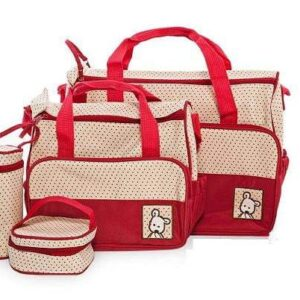5 in 1 Multifunctional Baby Bag - Red Dots