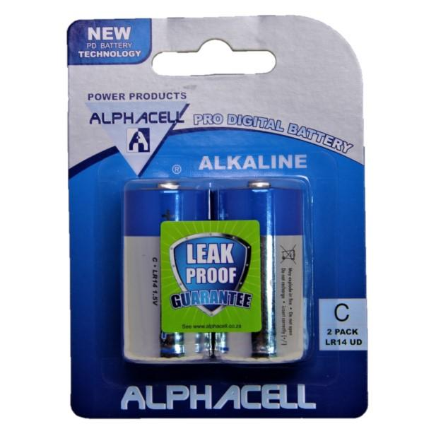 Pack of 3 Alphacell Pro Alkaline Digital Batteries - Size C 2pc