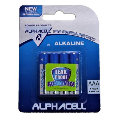 Pack of 6 Alphacell Pro Alkaline Digital Batteries - Size AAA 4pc