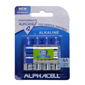 Pack of 6 Alphacell Pro Alkaline Digital Batteries - Size AA 6pc