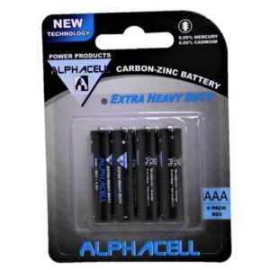 Alphacell Zinc Carbon Battery - Size AAA 4pc