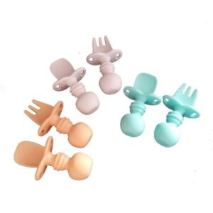 Baby Silicone Spoon & Fork Set - Assorted Colours