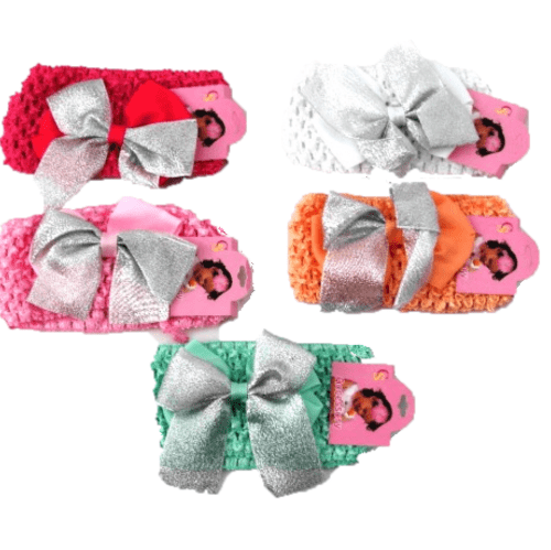 Headbands with Silver Bow - Assorted Colours