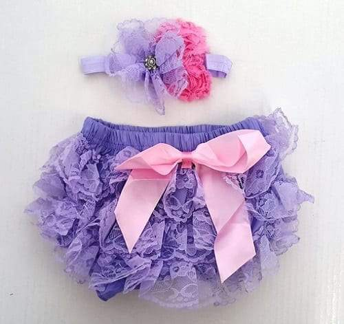 Smitten Lace Bloomer + Headband Set - Lilac 1-3 yrs