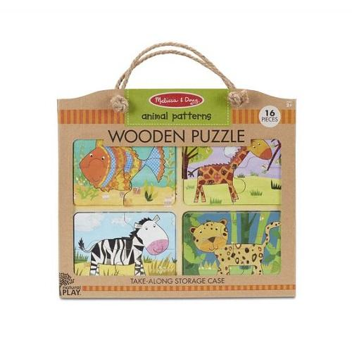 Melissa & Doug Natural Play Wooden Puzzle - Animal Patterns