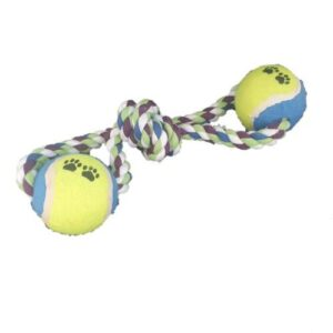 Pet Rope Tug & Chew Toy with 2 Tennis Balls