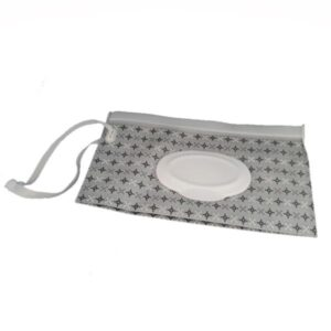 Reusable Wet Wipes Pouch - Black & Grey Stars