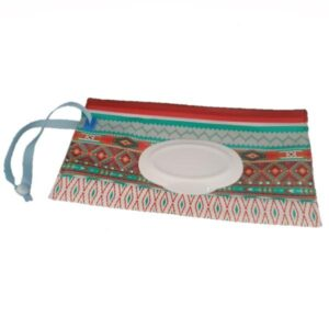 Reusable Wet Wipes Pouch - Blue & Brown Ethnic