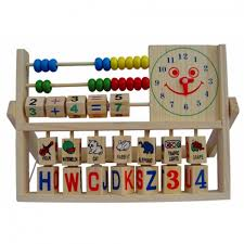 Wooden Abacus with Letters and Clock
