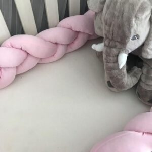 2-metre Braided Cot Bumper - Soft Pink