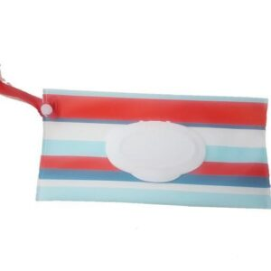 Reusable Wet Wipes Pouch - Red & Blue Stripes
