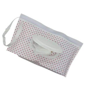 Reusable Wet Wipes Pouch - Pink Dots
